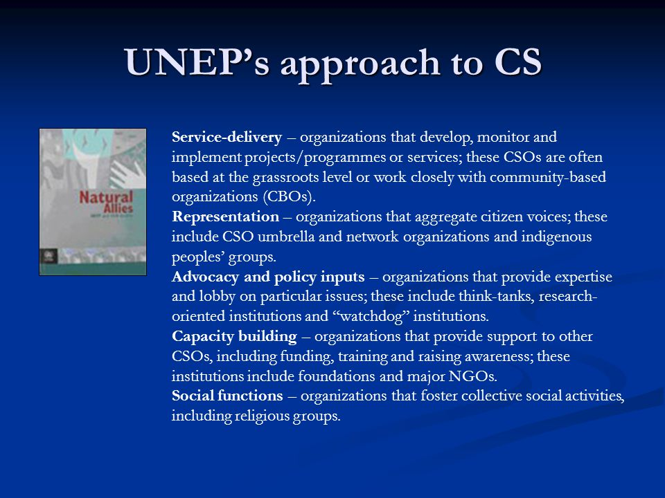 UNEP's approach to CS