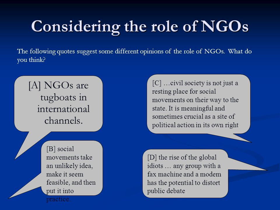 Considering the role of NGOs