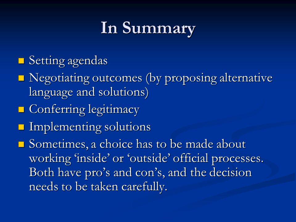 In Summary Setting agendas