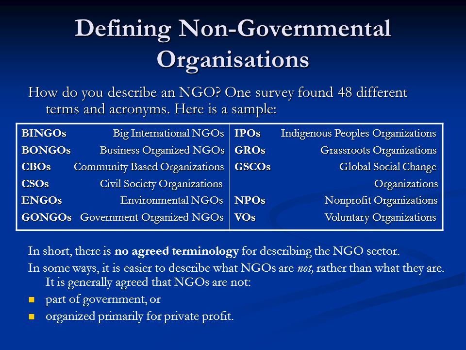 Defining Non-Governmental Organisations