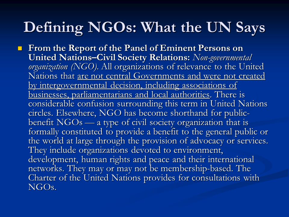 Defining NGOs: What the UN Says