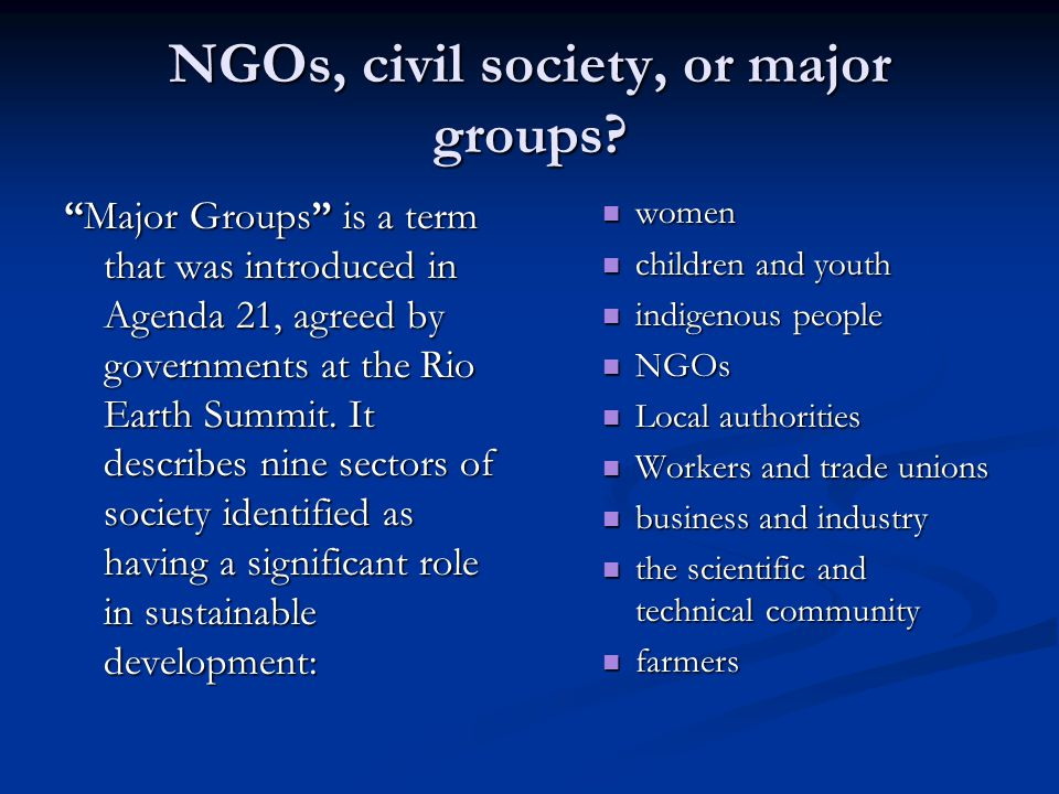NGOs, civil society, or major groups