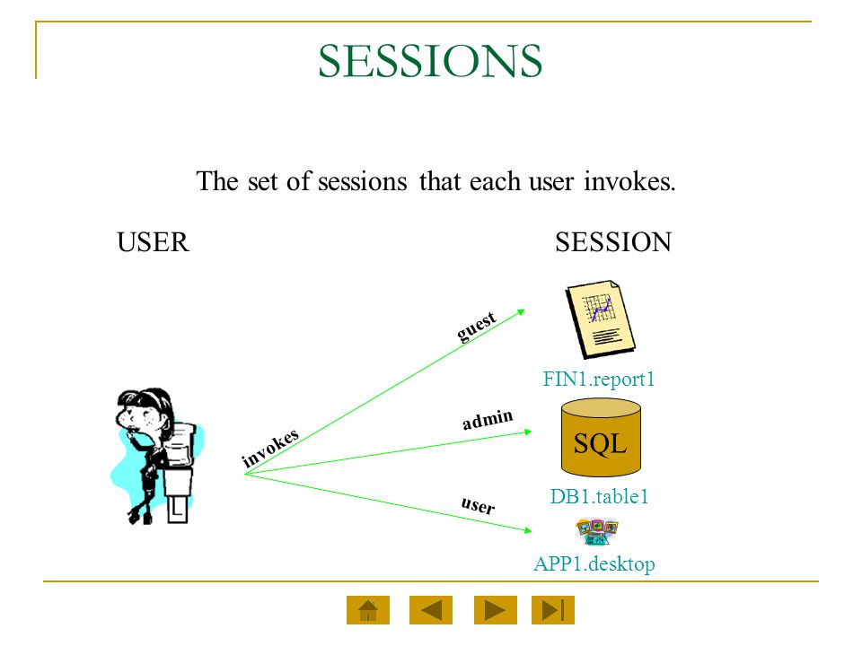 SESSIONS The set of sessions that each user invokes. USER SESSION SQL