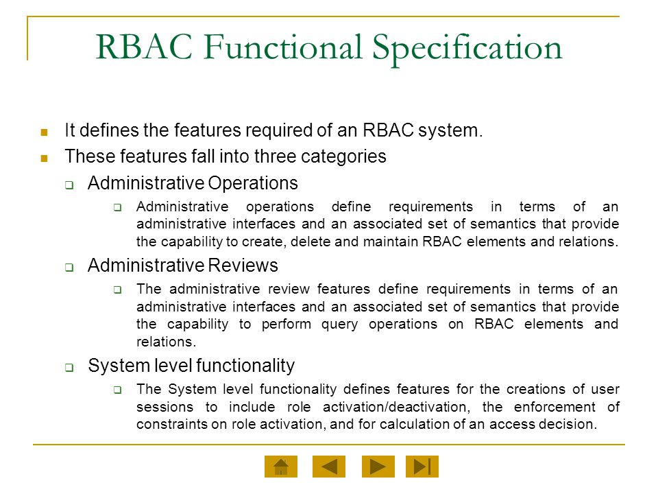 RBAC Functional Specification