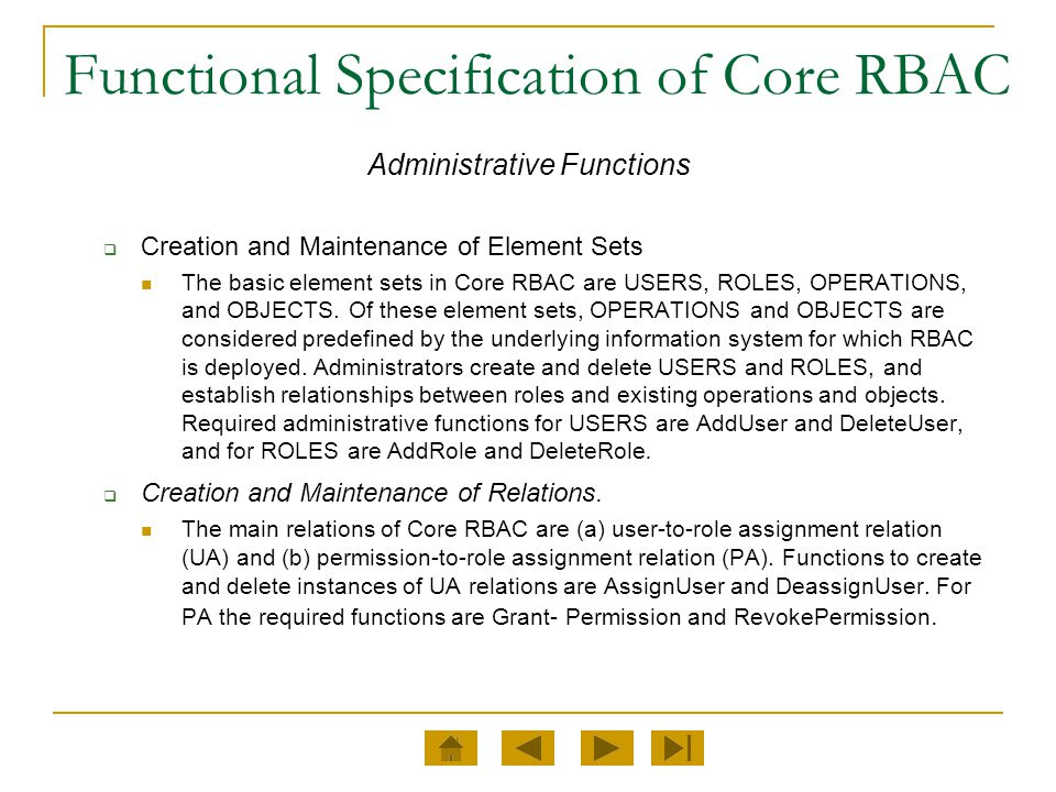 Functional Specification of Core RBAC