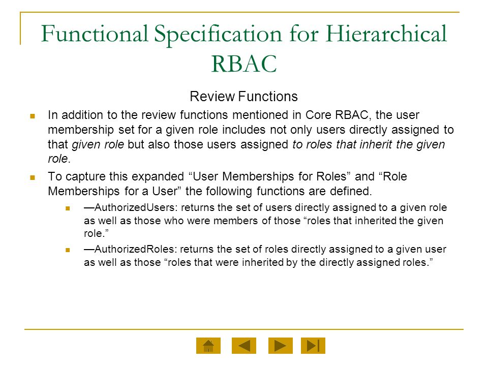 Functional Specification for Hierarchical RBAC