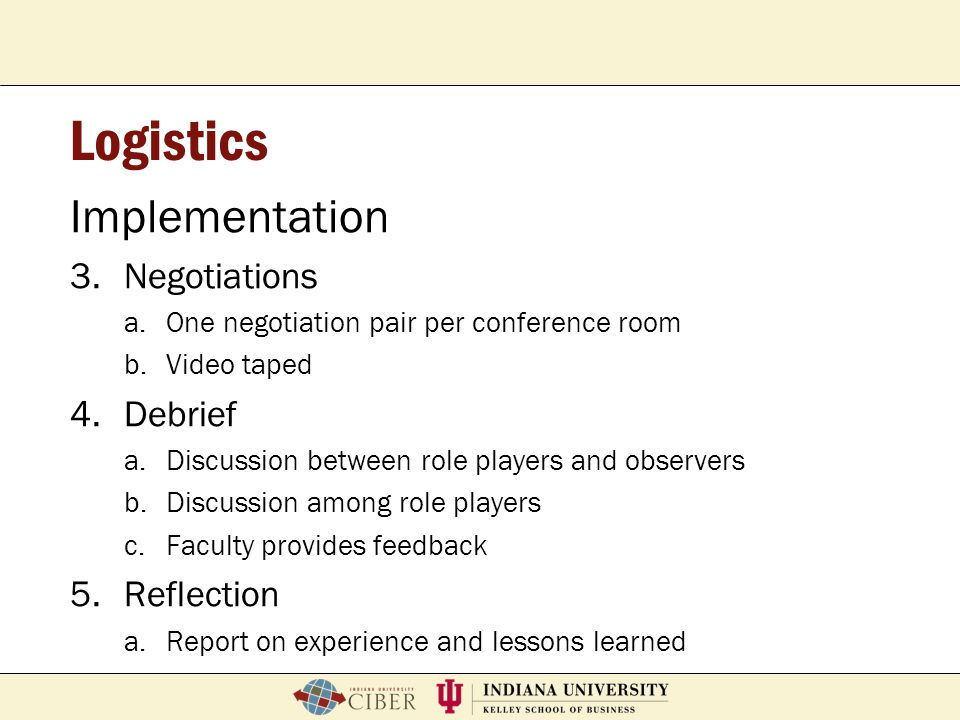 Logistics Implementation Negotiations Debrief Reflection