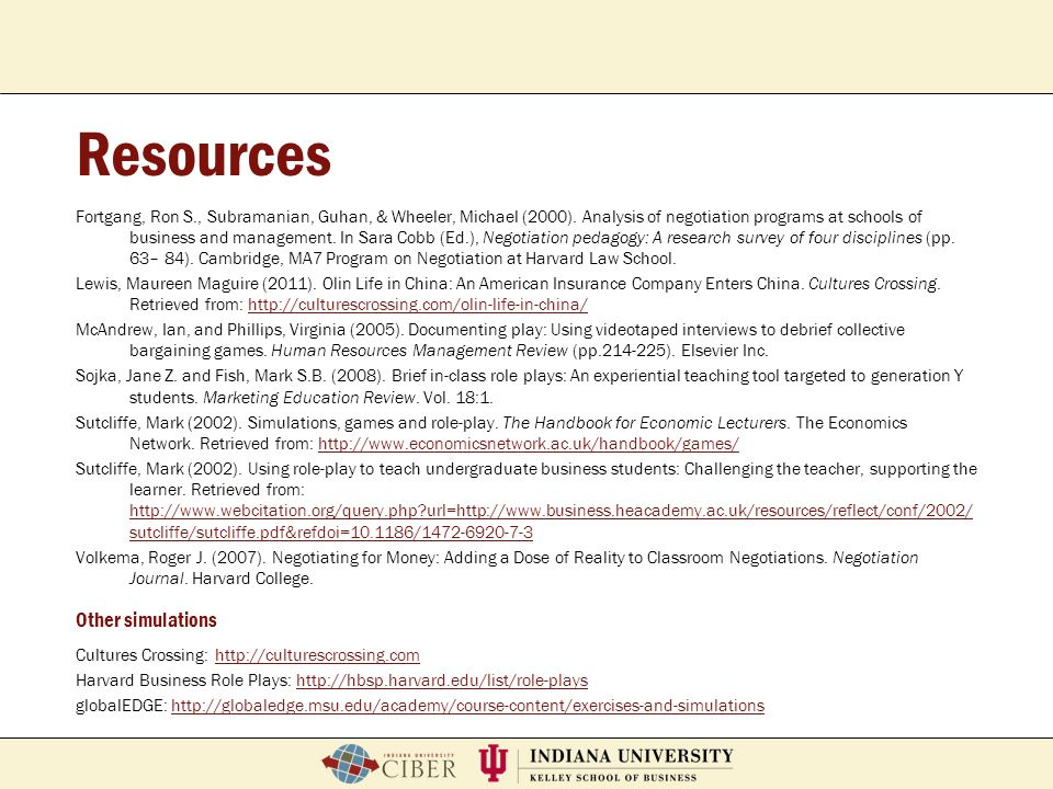 Resources Other simulations