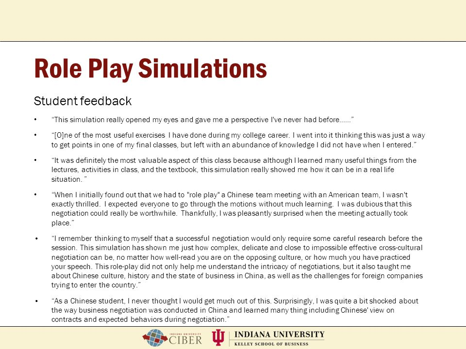 Role Play Simulations Student feedback
