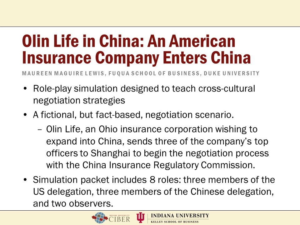 Olin Life in China: An American Insurance Company Enters China