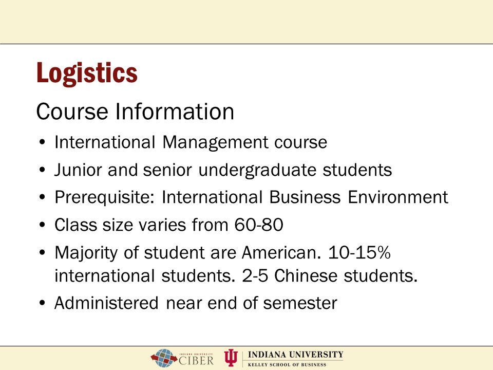 Logistics Course Information International Management course
