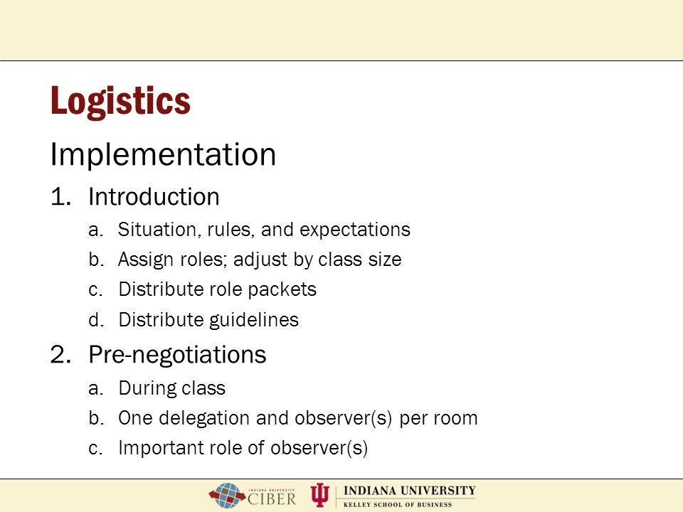 Logistics Implementation Introduction Pre-negotiations