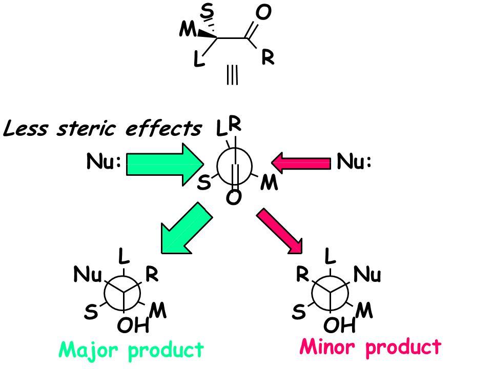 S O. M. L. R. R. Less steric effects. L. Nu: Nu: S. M. O. L. L. N. u. R. R. N. u.