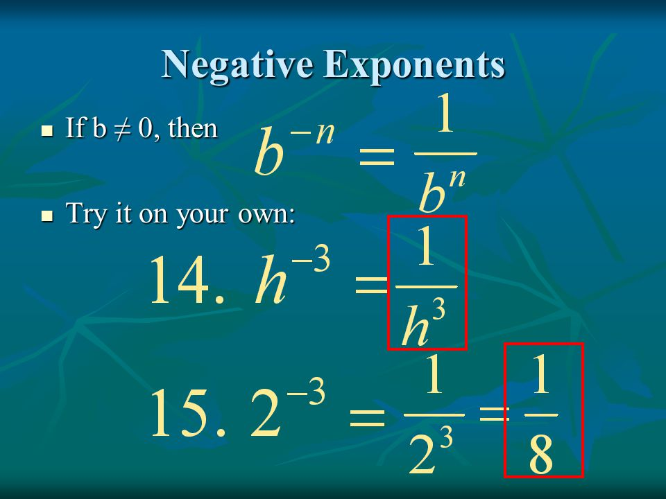 Negative Exponents If b ≠ 0, then Try it on your own: