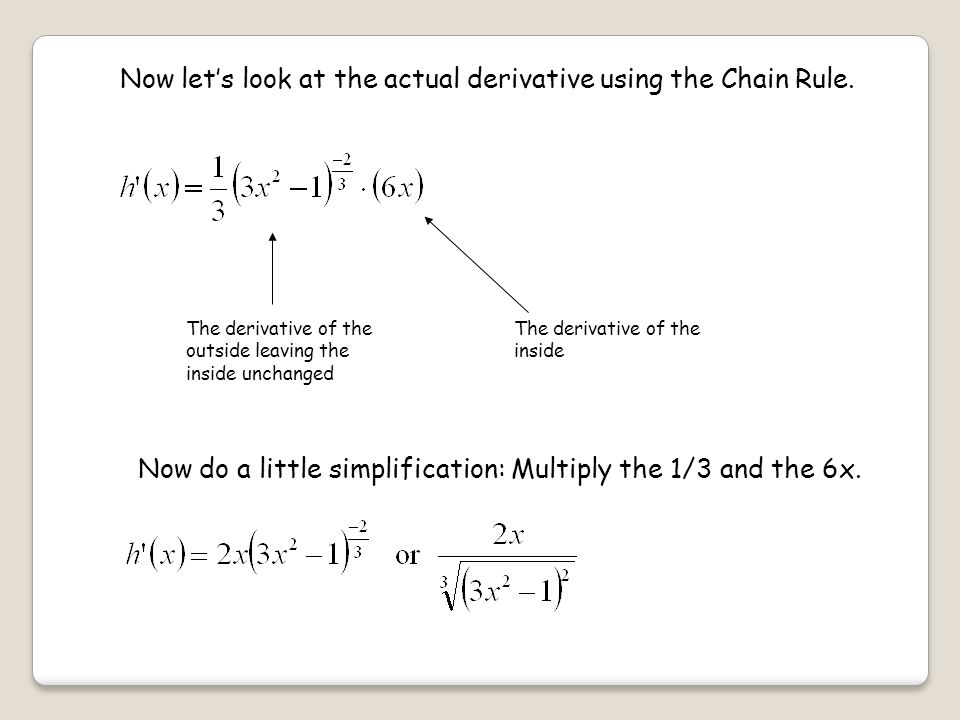 Now let's look at the actual derivative using the Chain Rule.