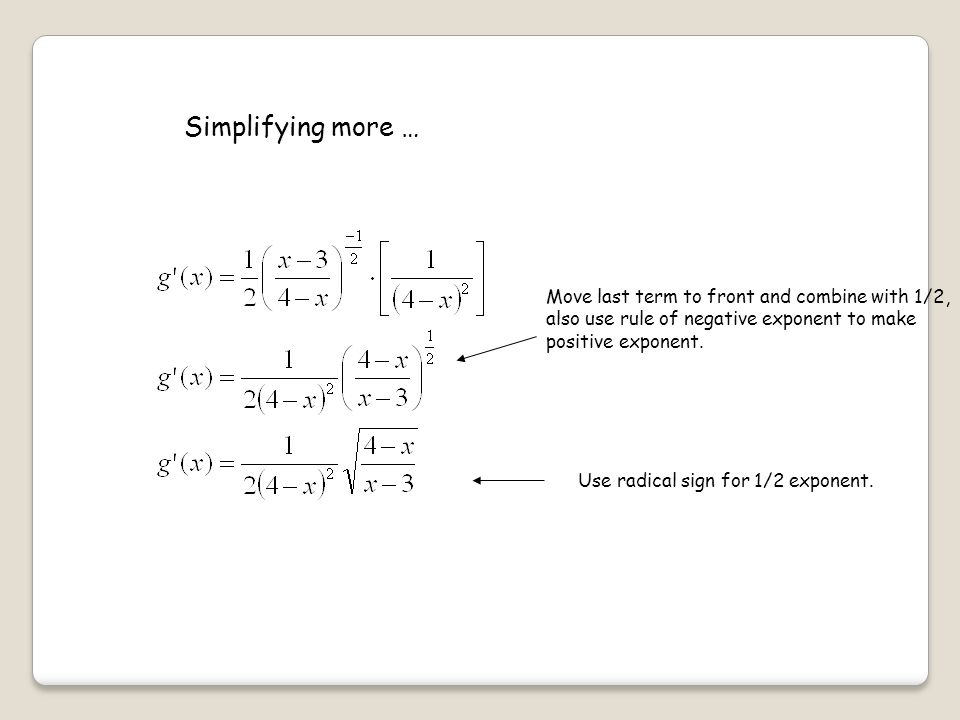 Simplifying more … Move last term to front and combine with 1/2,