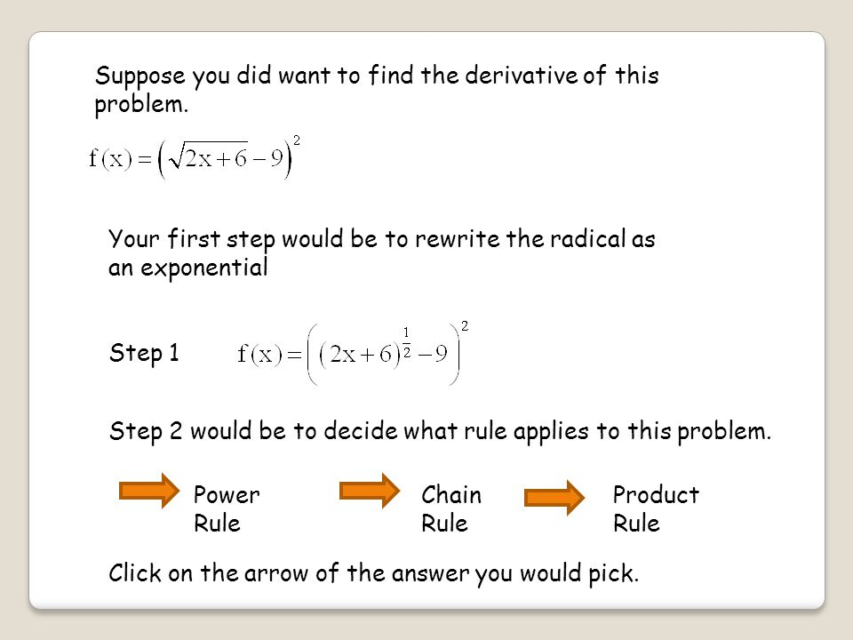 Suppose you did want to find the derivative of this problem.