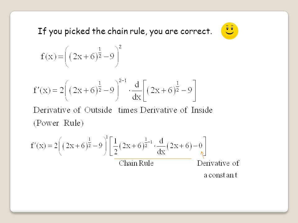 If you picked the chain rule, you are correct.