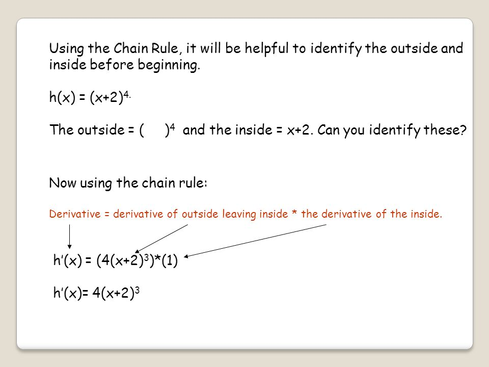Using the Chain Rule, it will be helpful to identify the outside and