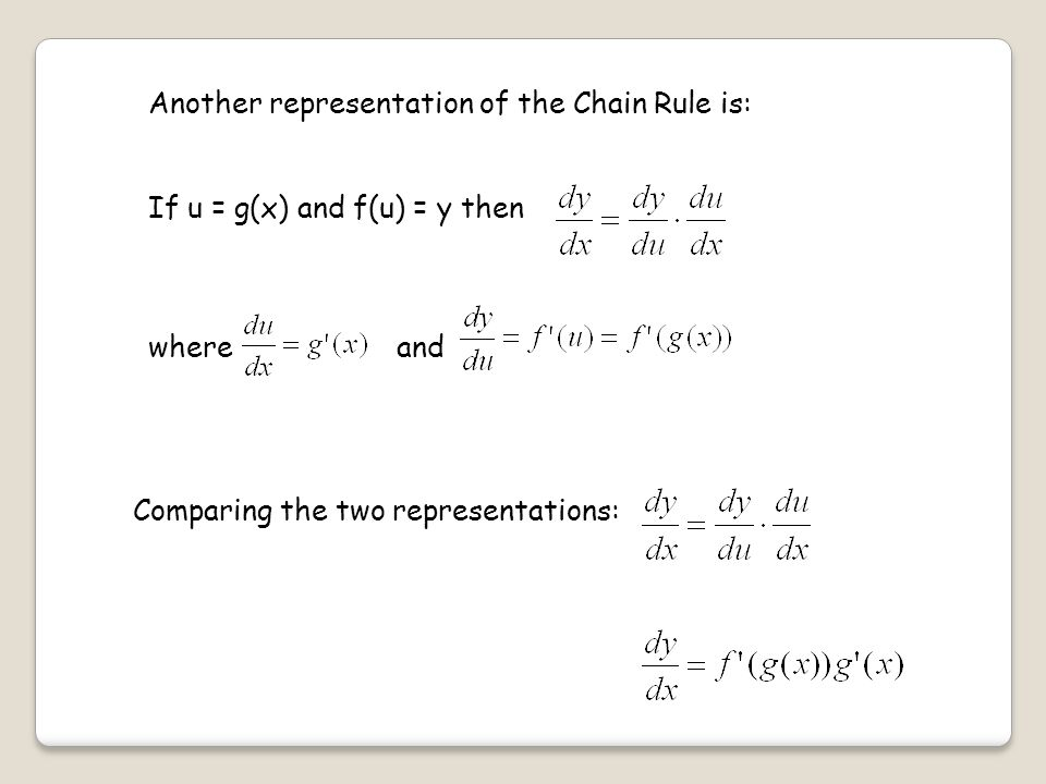 Another representation of the Chain Rule is: