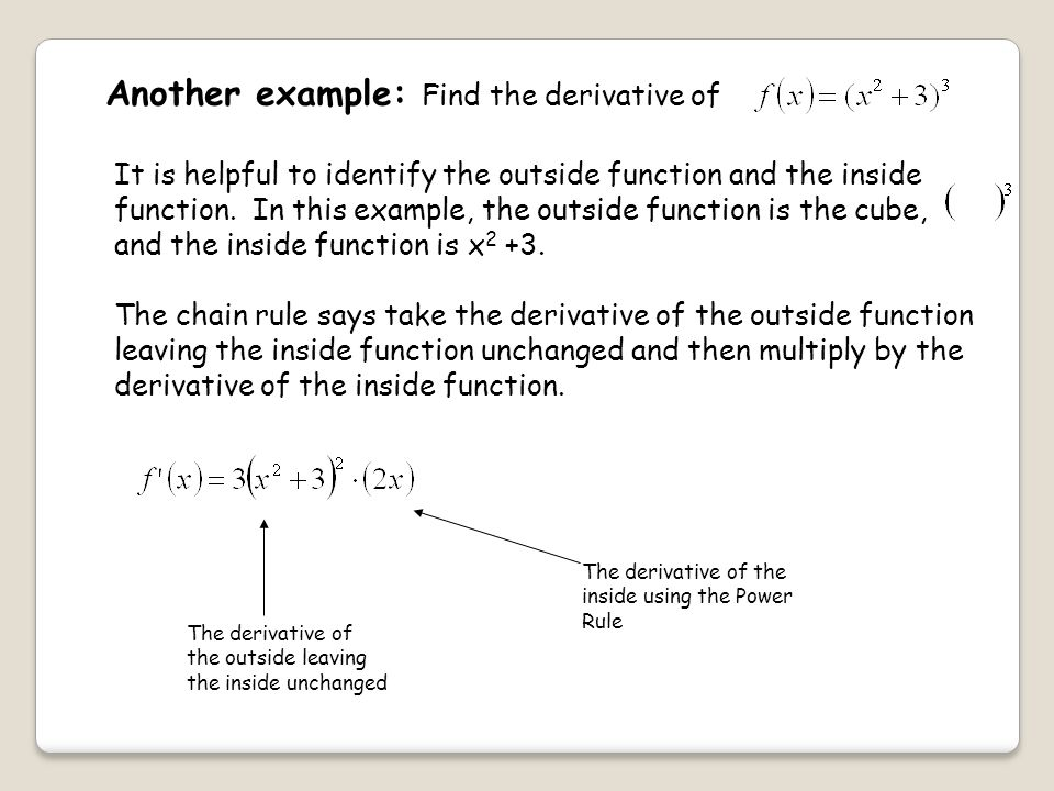 Another example: Find the derivative of