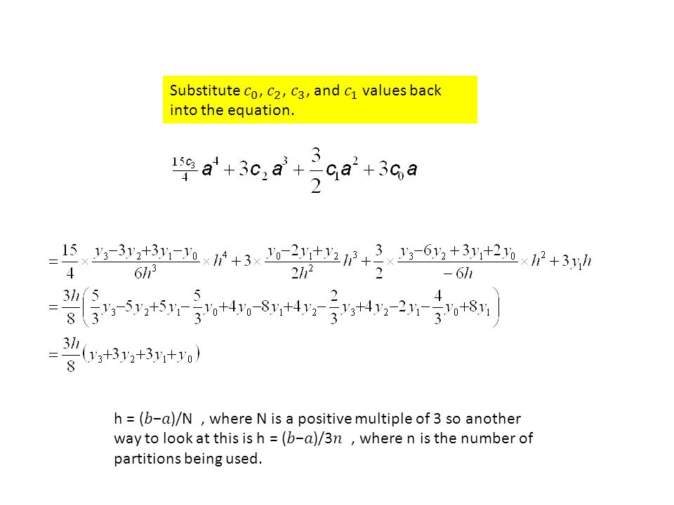 Substitute 𝑐 0 , 𝑐 2 , 𝑐 3 , and 𝑐 1 values back into the equation.