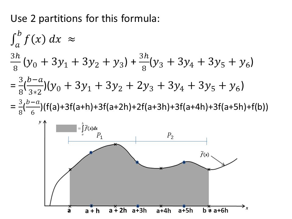 Use 2 partitions for this formula: 𝑎 𝑏 𝑓 𝑥 𝑑𝑥 ≈ 3ℎ 8 ( 𝑦 0 +3 𝑦 1 +3 𝑦 2 + 𝑦 3 ) + 3ℎ 8 ( 𝑦 3 +3 𝑦 4 +3 𝑦 5 + 𝑦 6 ) = 3 8 ( 𝑏−𝑎 3∗2 )( 𝑦 0 +3 𝑦 1 +3 𝑦 2 + 2𝑦 3 +3 𝑦 4 +3 𝑦 5 + 𝑦 6 ) = 3 8 ( 𝑏−𝑎 6 )(f(a)+3f(a+h)+3f(a+2h)+2f(a+3h)+3f(a+4h)+3f(a+5h)+f(b))