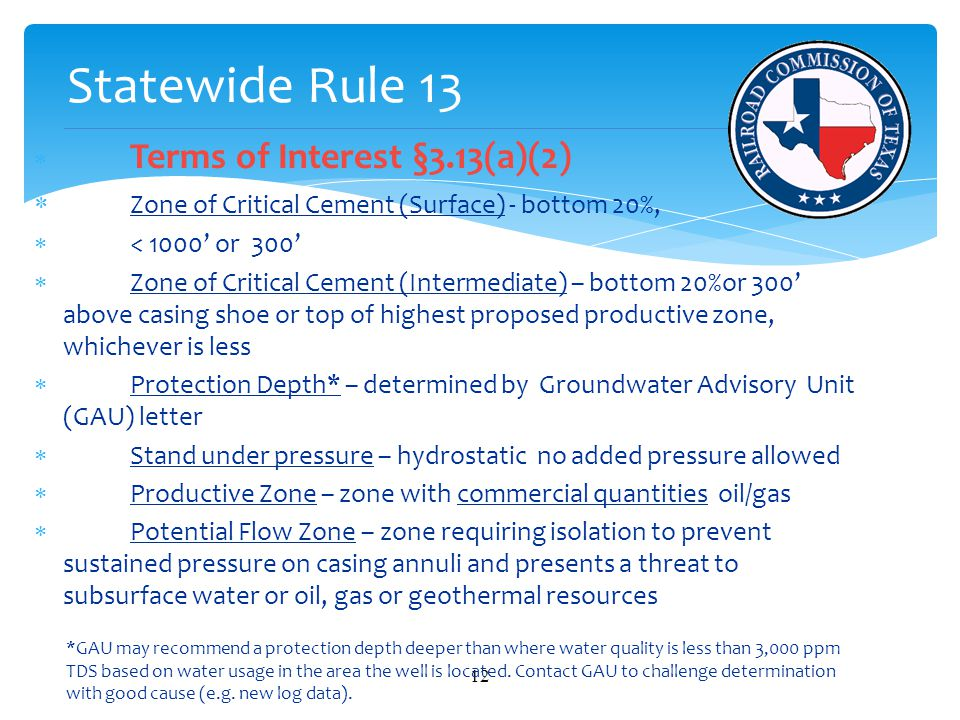 Statewide Rule 13 Zone of Critical Cement (Surface) - bottom 20%,