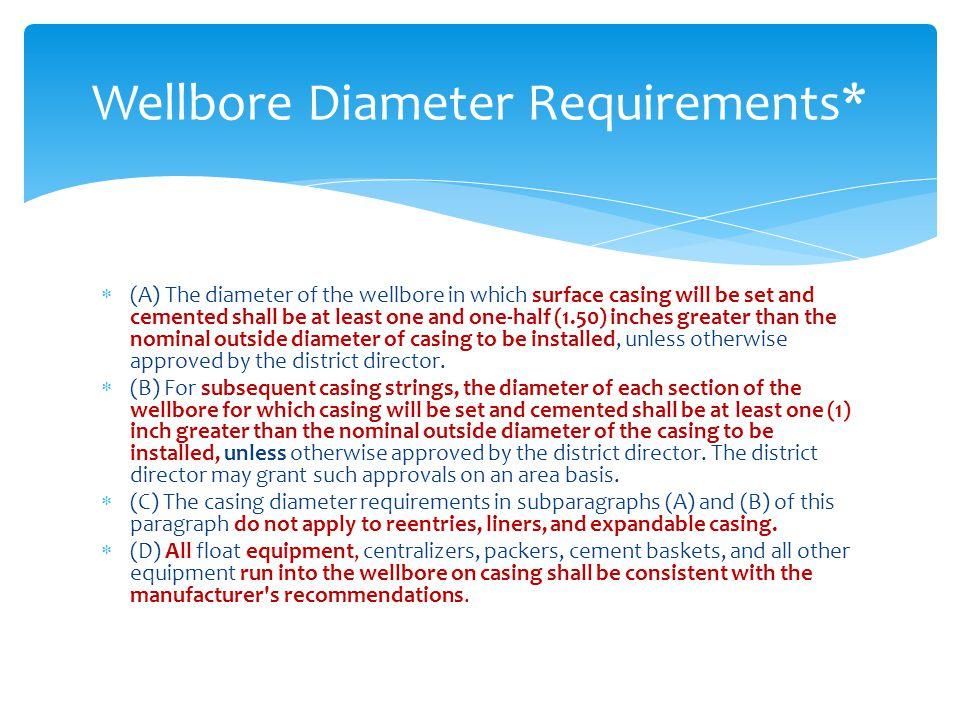 Wellbore Diameter Requirements*