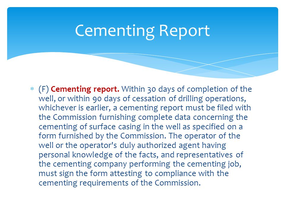 Cementing Report