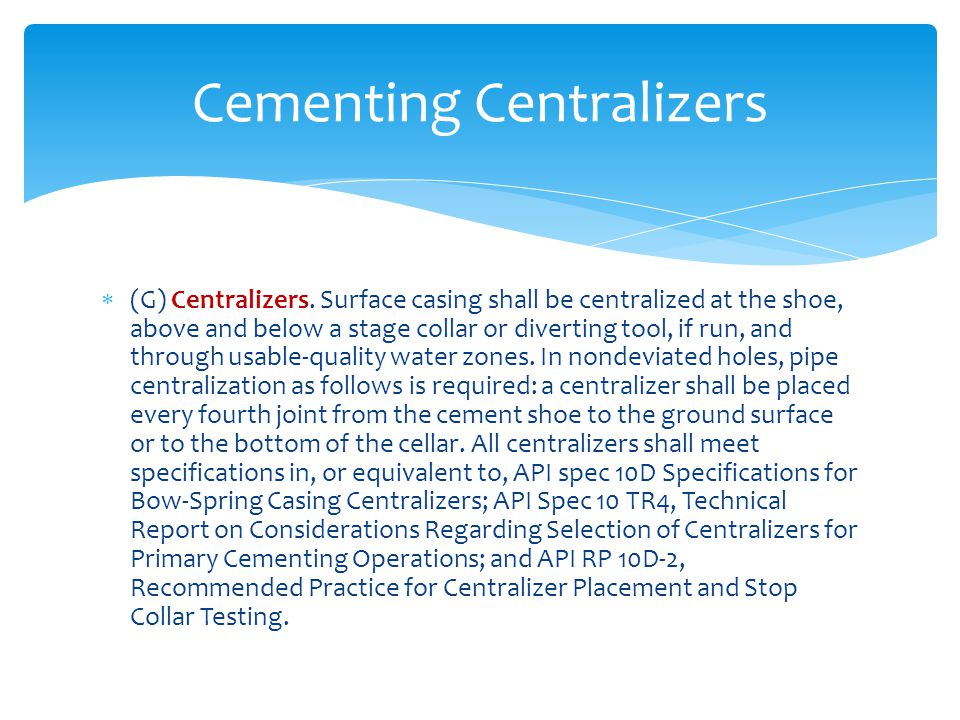 Cementing Centralizers