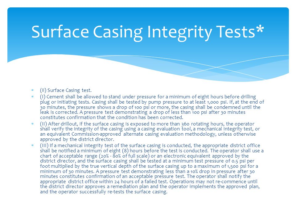 Surface Casing Integrity Tests*