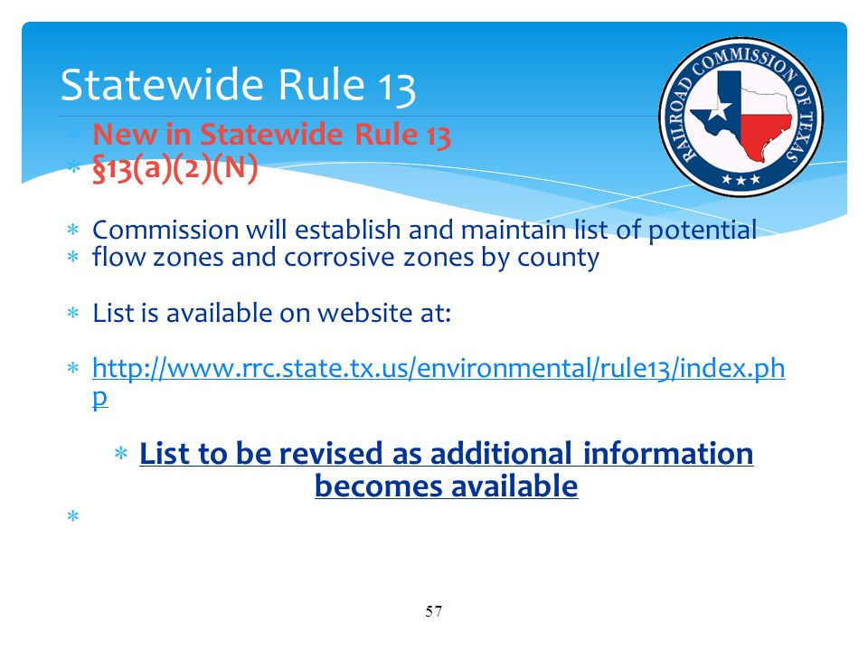 List to be revised as additional information becomes available
