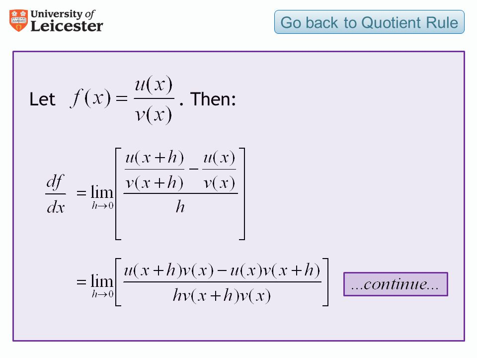 Go back to Quotient Rule