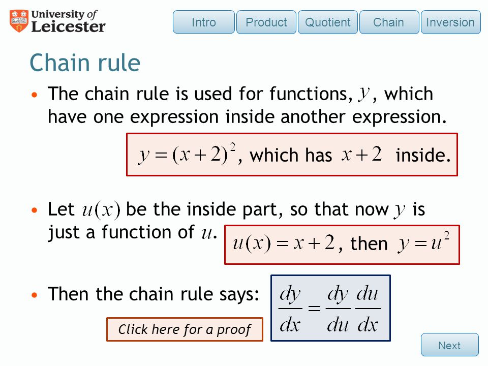 Intro Product. Quotient. Chain. Inversion. Chain rule.