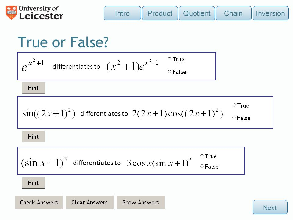 True or False Intro Product Quotient Chain Inversion