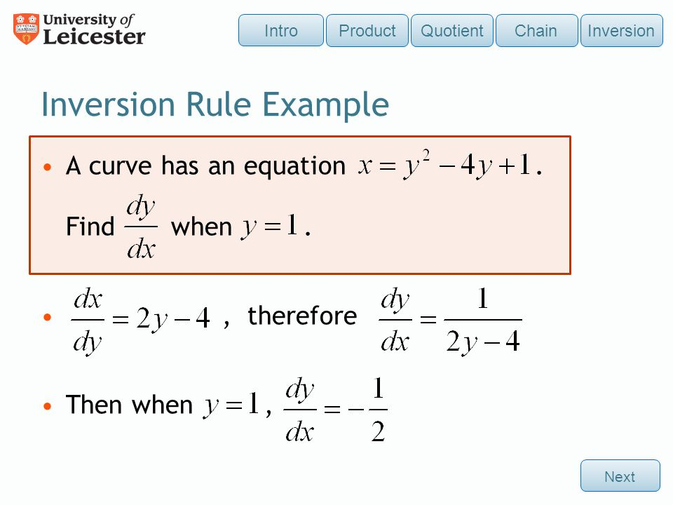 Inversion Rule Example