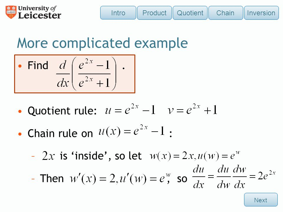 differentiation � product quotient and chain rules ppt