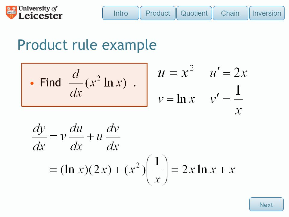 Product rule example Find . Intro Product Quotient Chain Inversion
