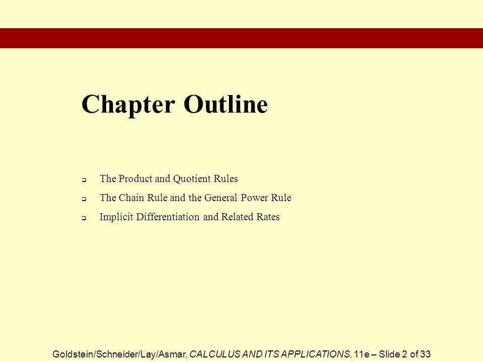 Chapter Outline The Product and Quotient Rules