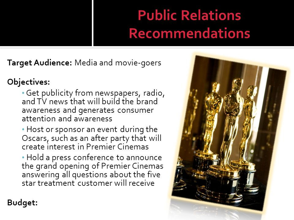 Public Relations Recommendations