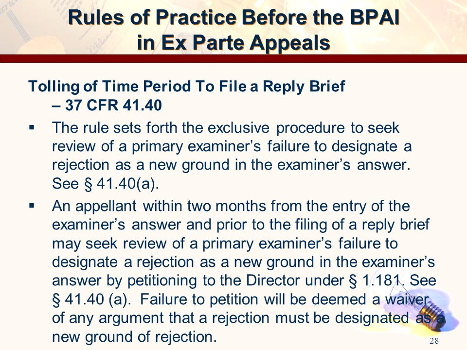 Rules of Practice Before the BPAI in Ex Parte Appeals