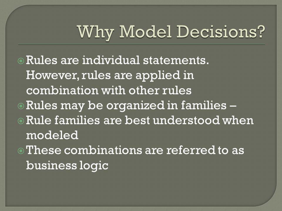 Why Model Decisions Rules are individual statements. However, rules are applied in combination with other rules.