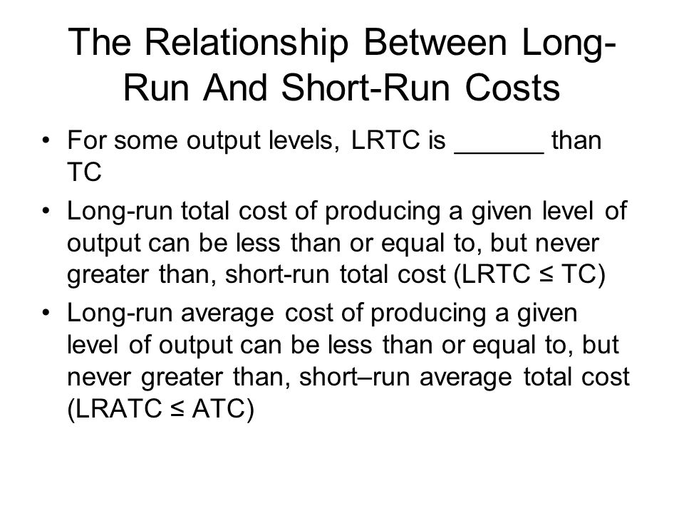 The Relationship Between Long-Run And Short-Run Costs