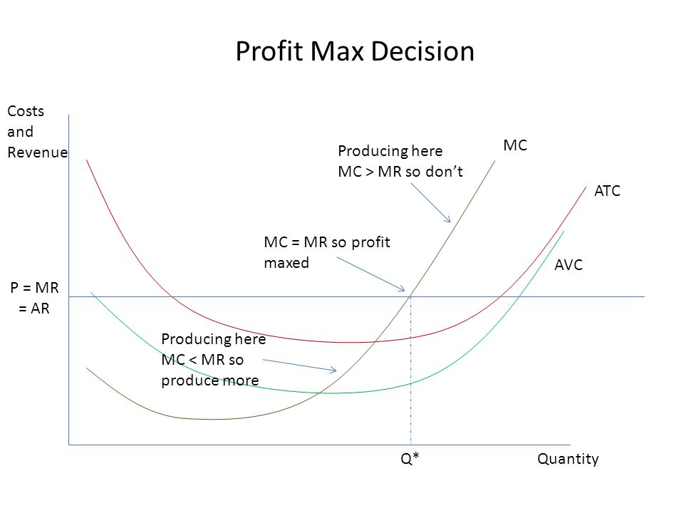 Profit Max Decision Costs and Revenue MC