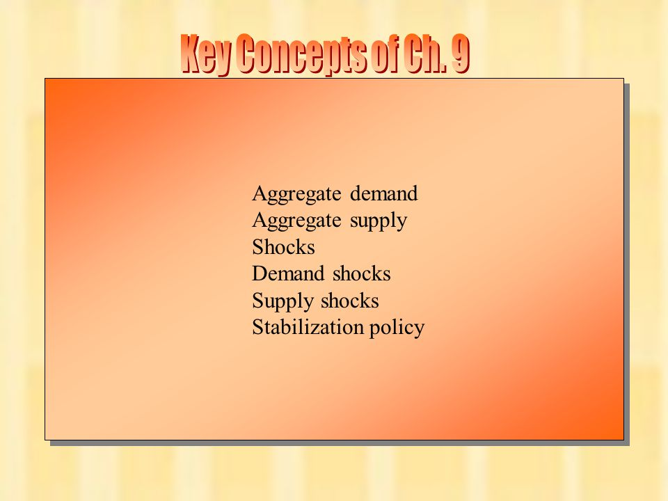 Key Concepts of Ch. 9 Aggregate demand Aggregate supply Shocks