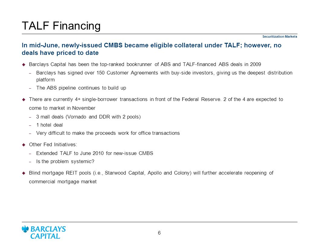 3/25/ :32 AM TALF Financing. Securitization Markets.