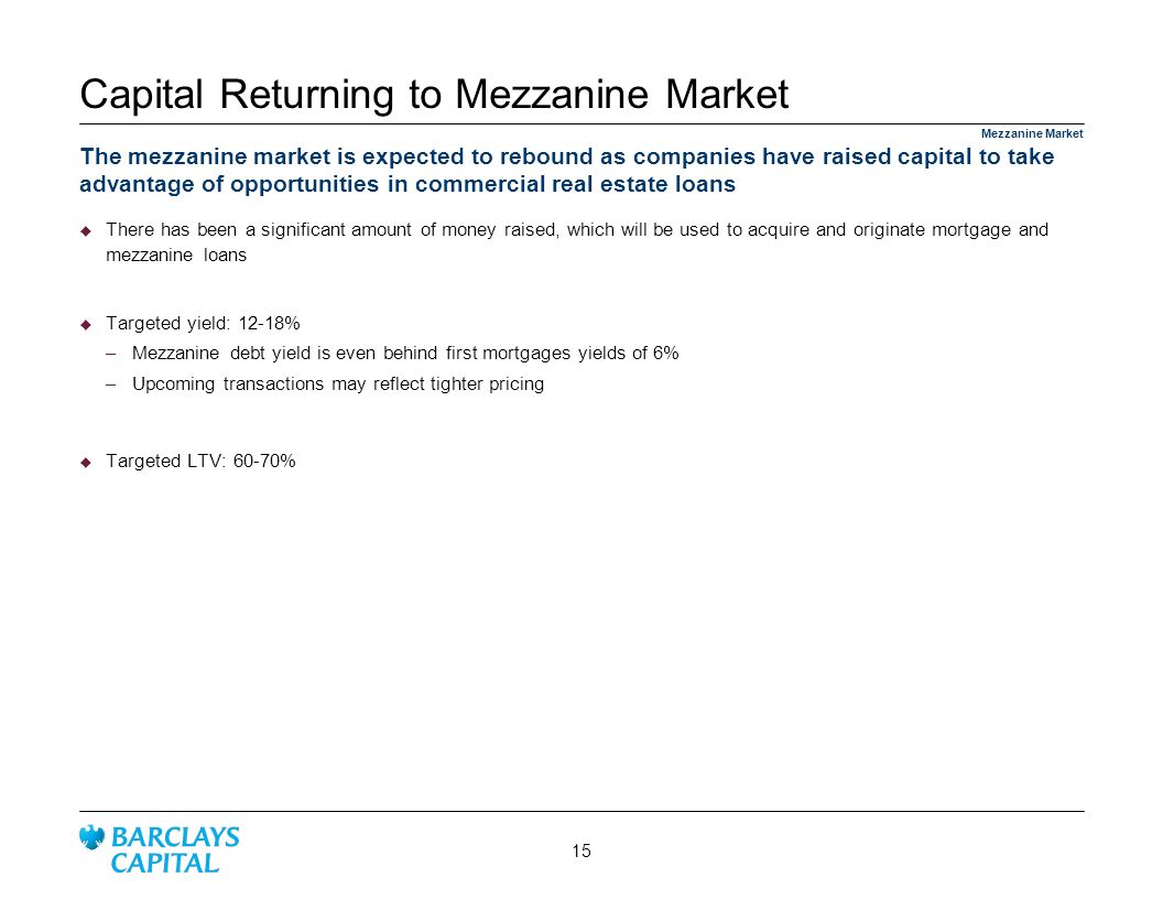 Capital Returning to Mezzanine Market