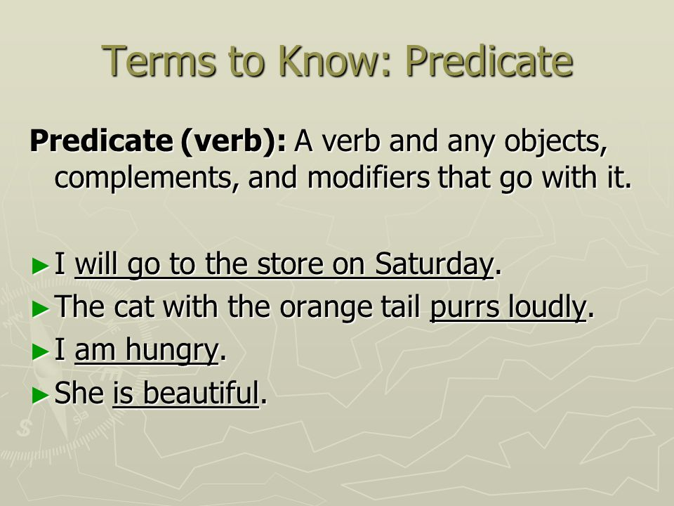 Terms to Know: Predicate