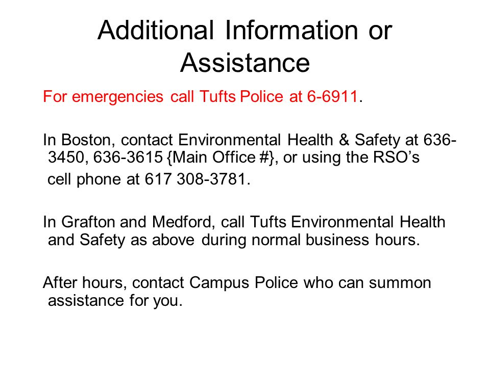 Additional Information or Assistance